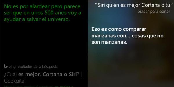 A la izquierda la respuesta de Cortana, a la derecha la de Siri