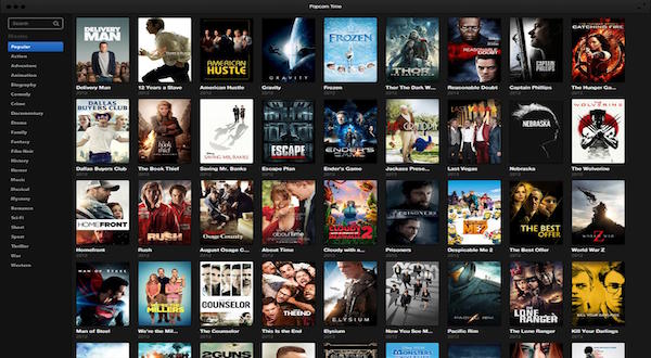 Imagen del servicio de video Popcorn Time