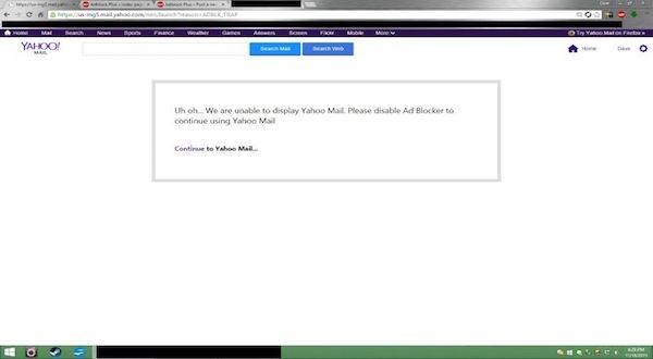 Este es el mensaje que encuentran los usuarios de Yahoo Mail