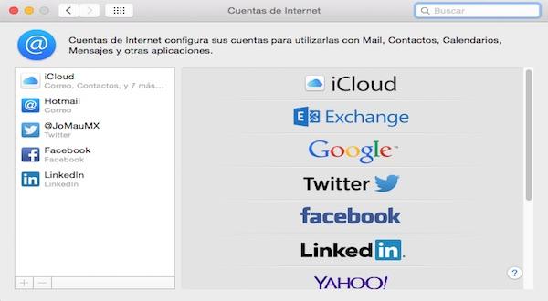 Cuentas de Internet en Mac