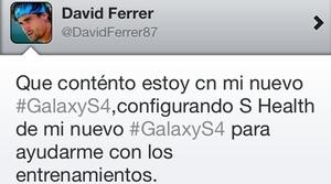 David Ferrer mete la pata en Twitter al promocionar el Samsung Galaxy S4 desde su iPhone