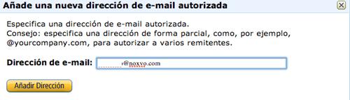 Añade un email para permitir que te envíen contenido a tu Kindle