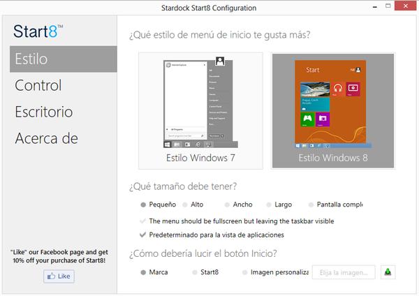 Añade un botón de inicio al escritorio de Windows 8