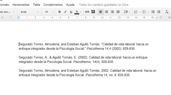 El aspecto de las referencias bibliográficas en los diferentes formatos