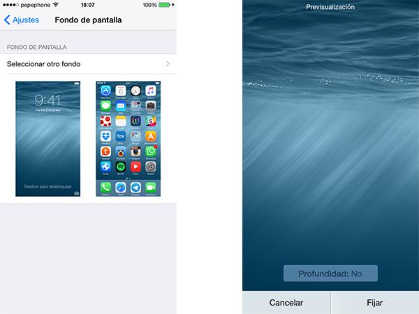Profundidad de Wallpaper en iOS