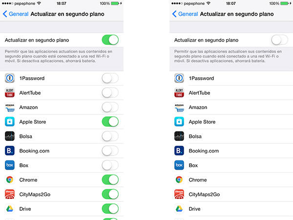 Actualización en segundo plano den iOS
