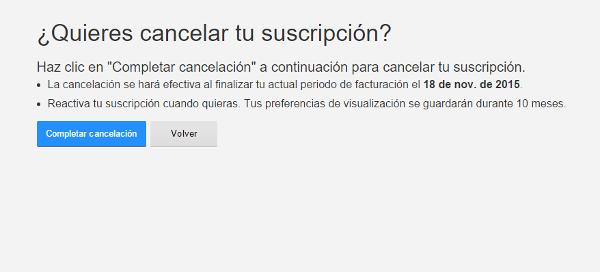 Confirmación de cancelación