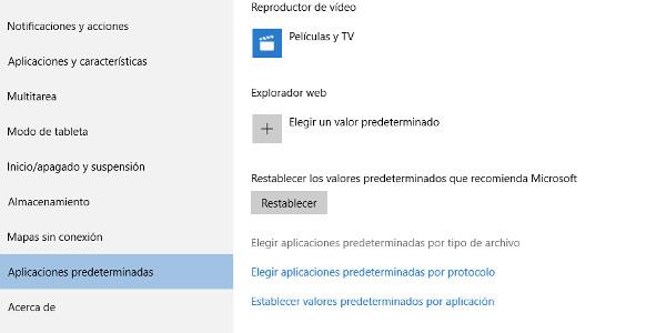 Windows 10 programas predeterminados